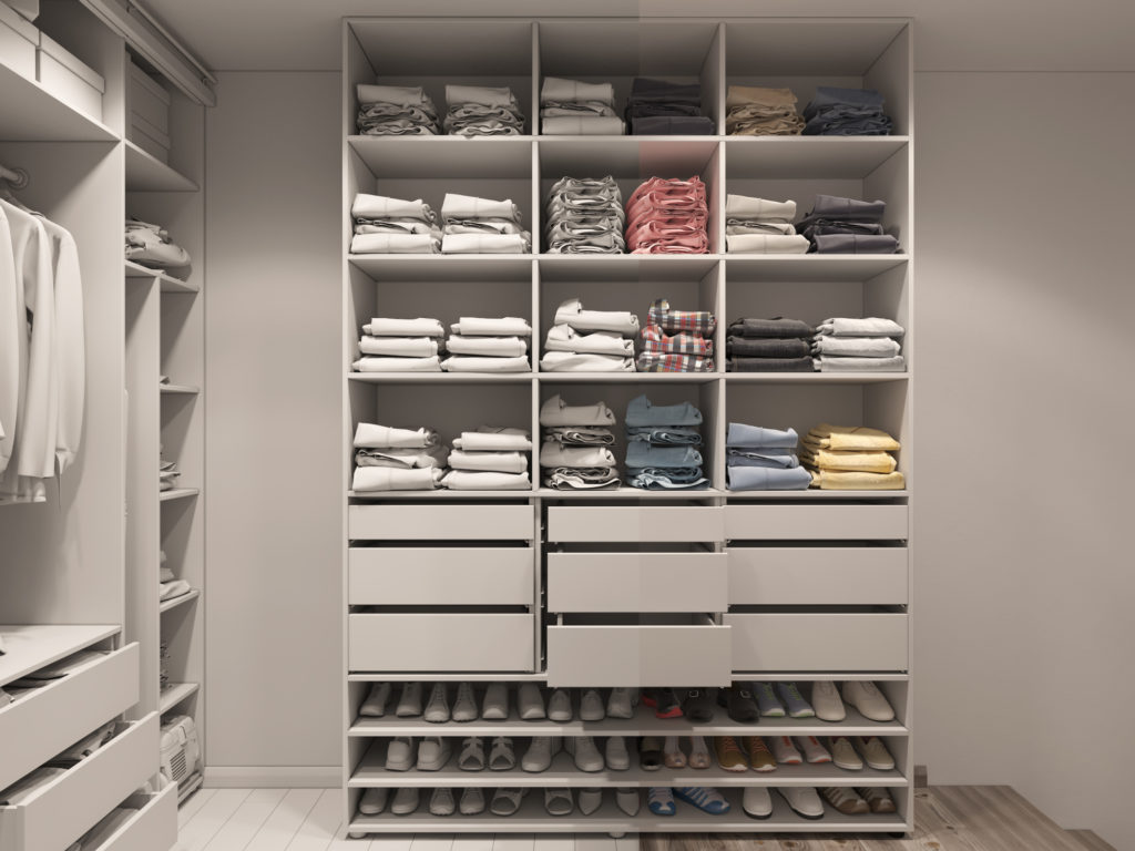 custom closet with light tones