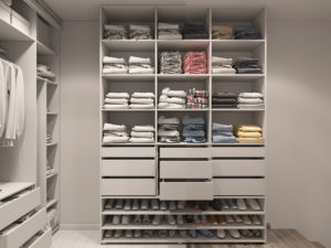 custom closet with light tones